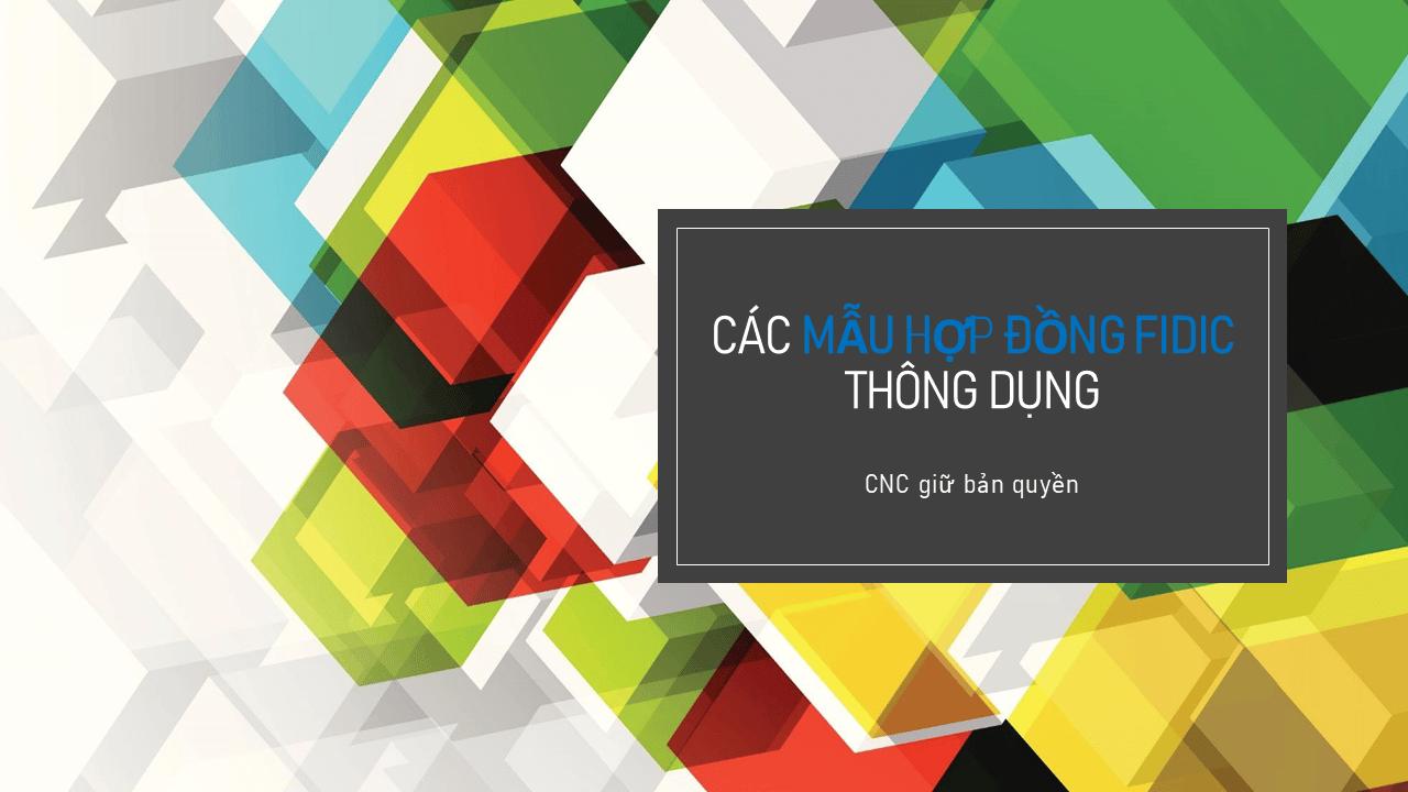 Cac mau hop dong FIDIC thong dung