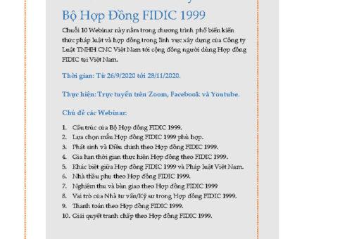 10 Webinar về Bộ Hợp đồng FIDIC 1999