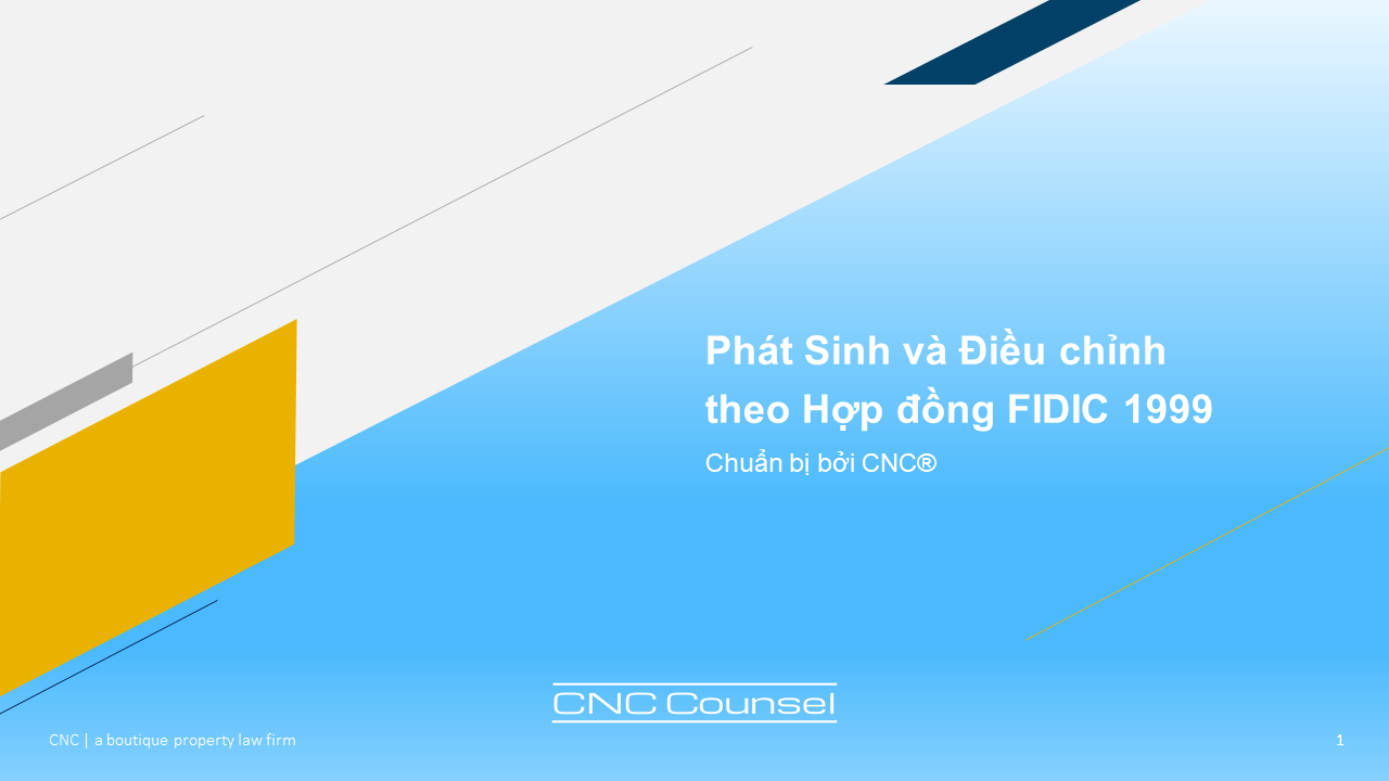 Phat sinh va Dieu chinh theo Hop dong FIDIC 1999